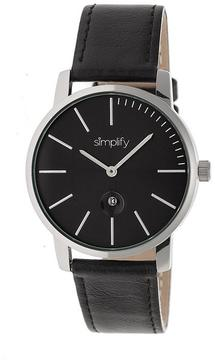 Simplify The 4700 SIM4702 Black Leather Analog Watch