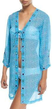 Letarte Long-Sleeve Printed Tie-Front Georgette Coverup
