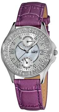Burgi Diamond Classic Steel GMT Date Strap Ladies Watch