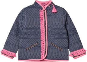 Billieblush Indigo Embroidered Reversible into Pink Tassled Jacket