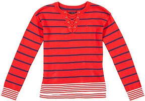 Nautica Girls' Lace-Up Striped Sweater (8-16)