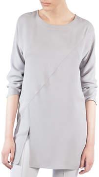 Akris Crewneck Long-Sleeve Asymmetric-Seams Silk-Crepe Tunic