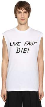McQ Biker Cat Jersey Sleeveless T-Shirt