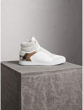 Burberry Leather and House Check High-top Trainers
