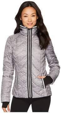 Blanc Noir Puffer Jacket with Reflective Trim - Heather Women's Coat