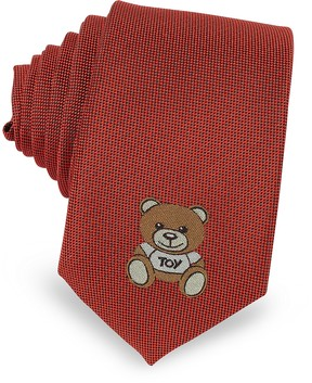 Moschino Teddy Bear Solid Silk Jacquard Narrow Tie