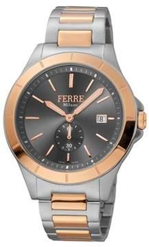 Ferré Milano Men's Swiss Made Swiss Quartz Two Toned Ss/iprg Stainless Steel Bracelet Watch.