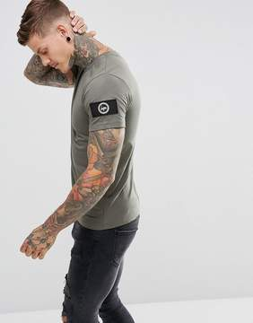 Hype T-Shirt In Khaki With Sleeve Patch