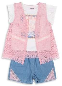 Little Lass Little Girl's Three-Piece Lace Vest, Graphic Tee and Denim Shorts Set