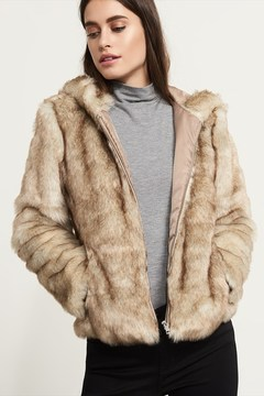 Dynamite Faux Fur Coat With Hood