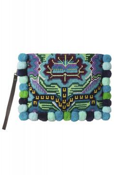 Jade Tribe 'Elizabeth' pompom clutch