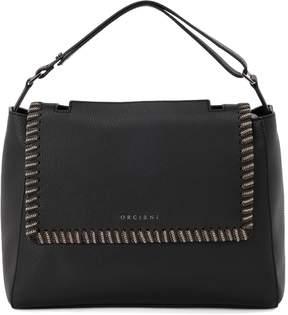 Orciani Sveva Medium Black Tumbled Leather Handbag With Chain