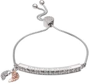 Brilliance+ Brilliance Two Tone Loved and Blessed Bolo Bracelet with Swarovski Crystals