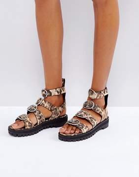 AllSaints Gladiator Sandal in Leopard Print
