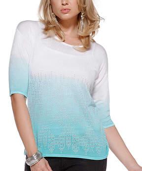 Belldini White & Atlantis Ombre Studded Three-Quarter Sleeve Top - Women