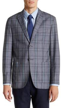 Zanetti Blue Plaid Two Button Notch Lapel Wool Sport Coat