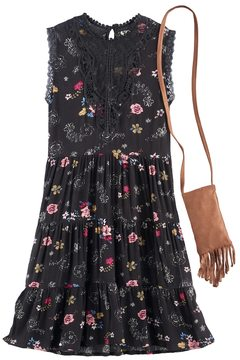 Knitworks Girls 7-16 Floral Tiered Dress with Crossbody Purse