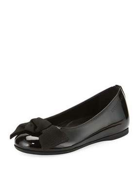 Burberry Trixie Patent Leather Ballet Flat, Black, Youth