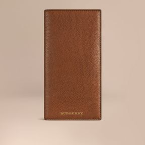 Burberry Grainy Leather Travel Card Case - TAN - STYLE