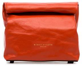 Simon Miller red lunchbag 20 leather clutch