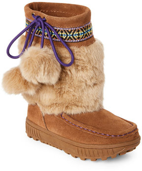 BearPaw Kids Girls) Brown Hope Pom Pom Boots