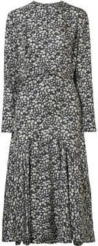 Calvin Klein Floral-print Silk-twill Midi Dress - Black