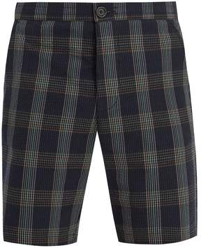 Oliver Spencer Mid-rise cotton-seersucker checked shorts