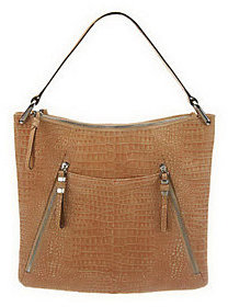 As Is B. Makowsky Croco Embossed Leather Hobo Bag