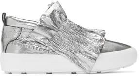 MSGM Silver Metallic Ruffle Slip-On Sneakers