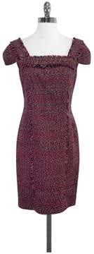 David Meister Purple Tweed Cap Sleeve Dress