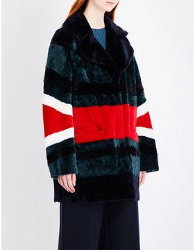 Drome Ladies Red Striped Reversible Shearling Coat