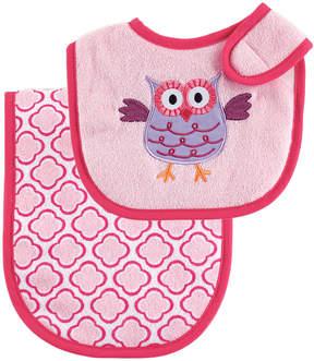 Luvable Friends Pink Owl Bib & Burp Cloth