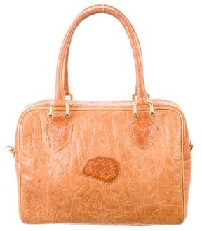 Carlos Falchi Embossed Leather Boston Bag