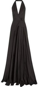 Bottega Veneta Leather-Trimmed Cotton Halterneck Gown