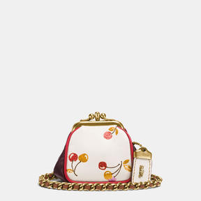 COACH Coach Kisslock Pouch In Glovetanned Leather With Cherry Print