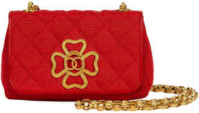 One Kings Lane Vintage 1980s Chanel Red Leather & Cotton Bag - Vintage Lux