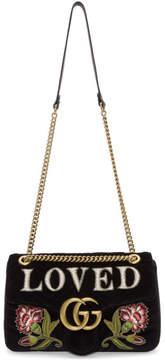 Gucci Black Velvet Medium Loved GG Marmont 2.0 Bag
