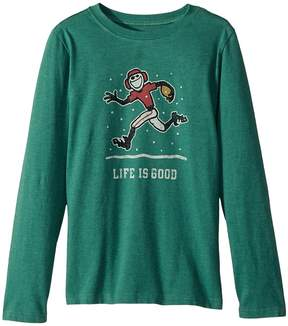 Life is Good Snow Football Long Sleeve Crusher Tee Boy's T Shirt