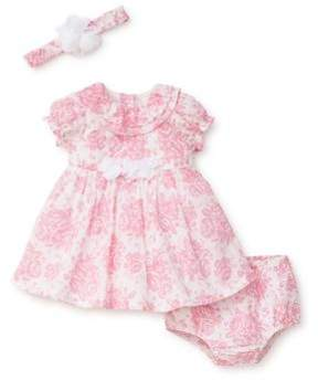 Little Me Baby Girl's Three-Piece Floral Cotton Dress, Bloomers and Headband Set