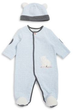 Little Me Baby Boy's Two-Piece Quilted Fuzzy Friends Footie and Hat Set