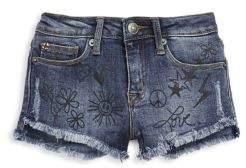 Hudson Little Girl's Denim Scribble Shorts