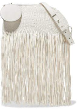 Roksanda Eartha Medium Fringed Woven Leather Shoulder Bag - White
