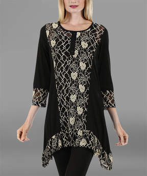 Lily Black & White Floral Sidetail Tunic - Women