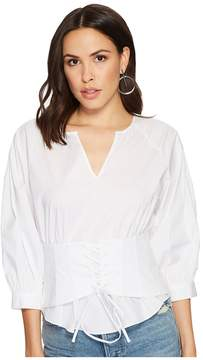 1 STATE 1.STATE Long Sleeve Blouson Sleeve Corset Blouse Women's Blouse