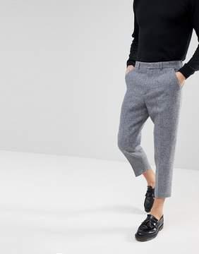 Asos Tapered Smart Pants in 100% Wool Harris Tweed In Light Gray Check