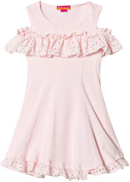 Kate Mack Biscotti Pink Drop Shoulder Broderie Anglaise Detail Dress