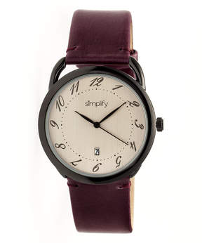 Simplify Black & Plum The 4900 Leather-Band Watch - Men