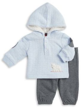 Little Me Baby Boy's Two-Piece Faux Fur-Lined Hoodie and Cotton Pants Set