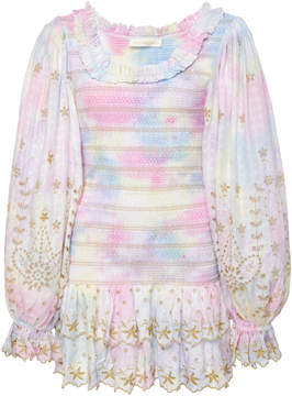 LoveShackFancy Celia Smocked Tie Dye Mini Dress