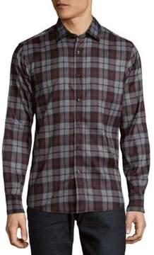 Saks Fifth Avenue BLACK Plaid Casual Button Down Shirt